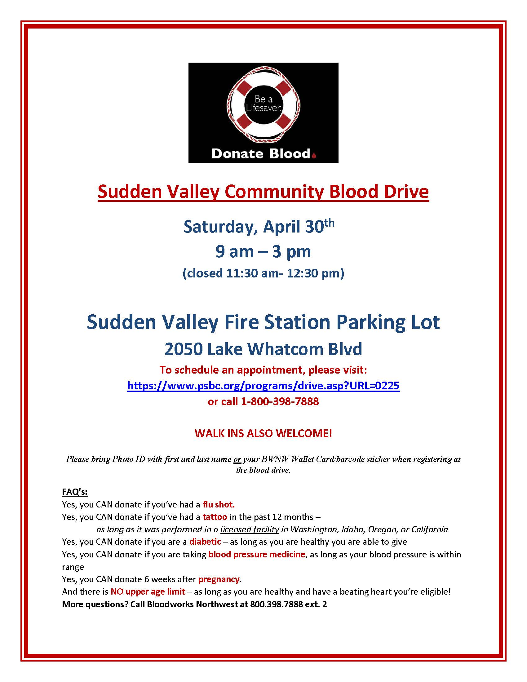 Sudden Valley Community Blood Drive
